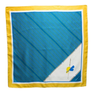 Celine Paris Silk Scarf Blue and Yellow Equestrian Print For Sale