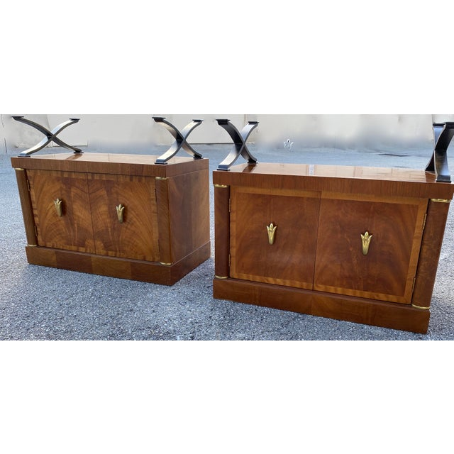 Henredon burl Nightstands with Granite Tops.Unique storage cabinet opens to reveal two shelves. Granite with brass accents...