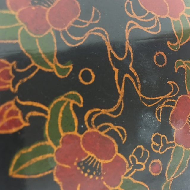 Black Vintage Lacquer Hexagon Box For Sale - Image 8 of 8