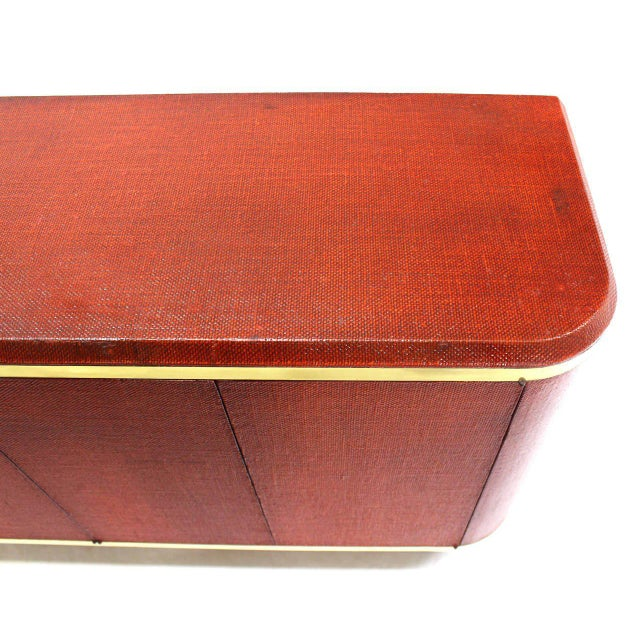 Mid-Century Modern Grass Cloth Brass Credenza or Cabinet or Sideboard Red Brick Color For Sale - Image 3 of 8