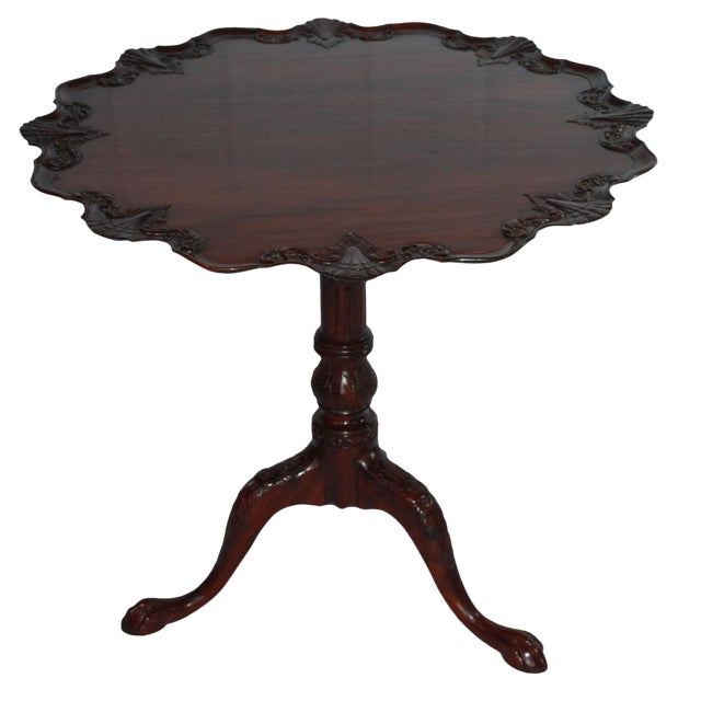 Carved Mahogany Pie Crust Tilt-Top Table For Sale