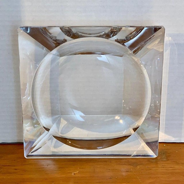 French Modern Crystal Cigar Ashtray For Sale - Image 11 of 12