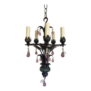 1930s French Iron Chandelier For Sale