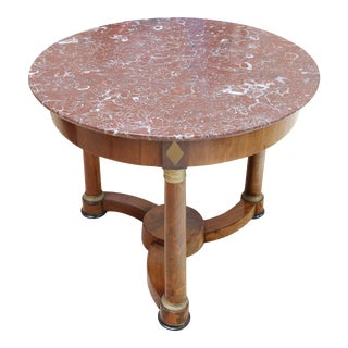 French Empire Mahogany and Brass Centre Table For Sale