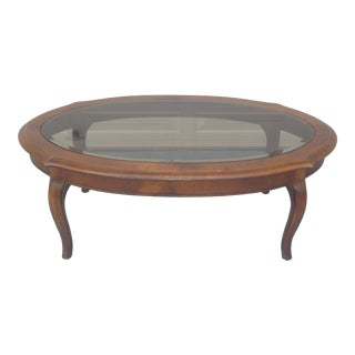 Ethan Allen French Provincial Glass Top Coffee Table For Sale