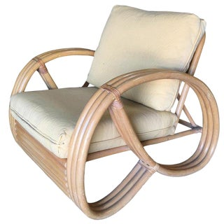 3/4 Round Pretzel Restored Large Pole Rattan Lounge Chair For Sale