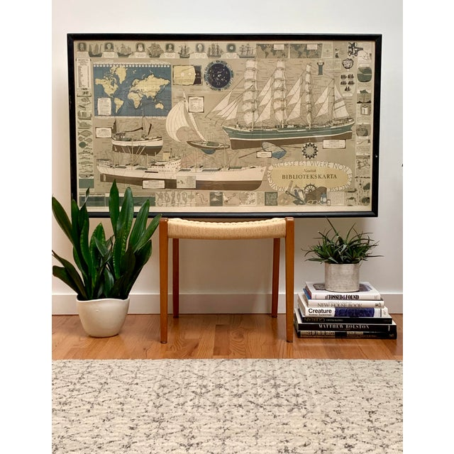 """This old school oversized print titled """"Nautisk Bibliotekskarta"""" (Nautical Library Map) is a pictorial encyclopedia of all..."""