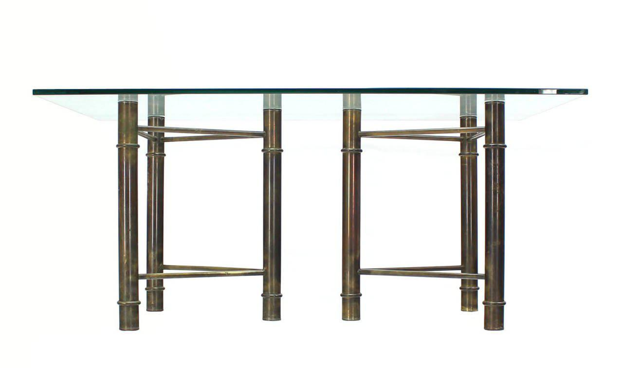Mastercraft Solid Brass Faux Bamboo Base Glass Top Rectangle Dining Table    Image 5 Of 7