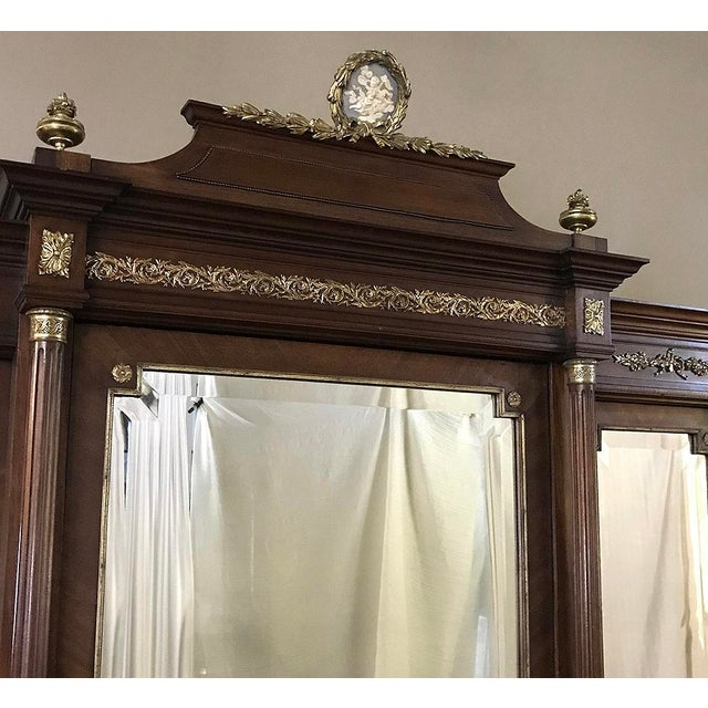 19th Century French Louis XVI Mahogany Armoire With Ormolu For Sale - Image 12 of 13
