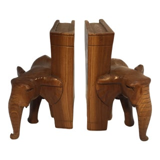 Mid Century Hand-Carved Elephant Bookends- A Pair For Sale