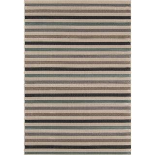 "Momeni Baja Sage Stripe Indoor/Outdoor Rug - 7'10"" X 10'10"""