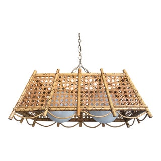 1960s Wicker & Rattan Chandelier For Sale
