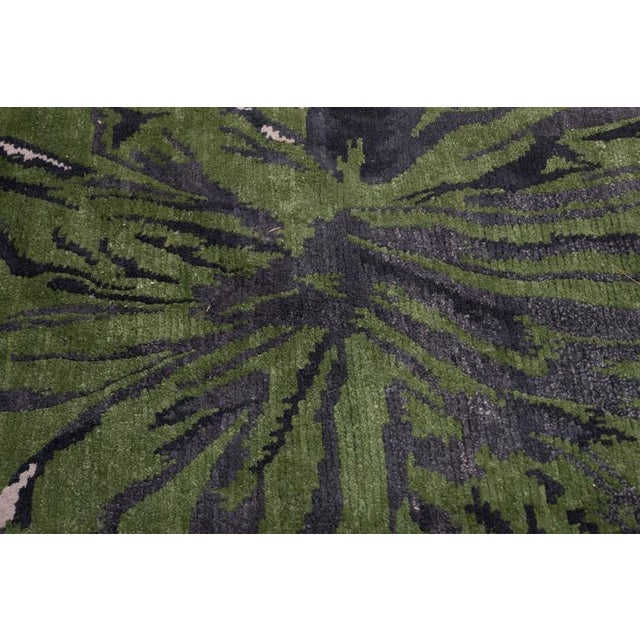 Exuberant Palmleaf-Patterned Hand-Loomed Wool Rug, Stephanie Odegard Collection - Image 3 of 7