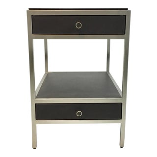 Caracole Modern Charcoal Black Leather and Metal Uptown End Table For Sale