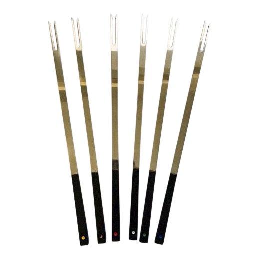 Vintage Mid-Century Bakelite & Stainless Fondue Forks - Set of 6 For Sale