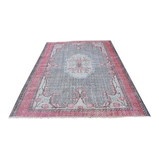1980s Vintage Turkish Oushak Rug - 6′4″ × 8′4″ For Sale