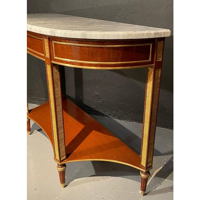1960s Russian Neoclassical Console / Sofa Table or Sideboard, Demilune For Sale - Image 5 of 10