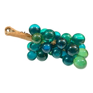 Mid-Century X-Large Teal Blue Lucite Grape Cluster For Sale