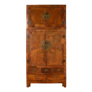 Chinese Vintage Elm Compound Two-Part Wedding Wardrobe with Doors and Drawers For Sale