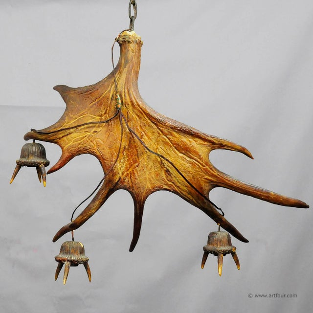 a chandelier made of a large antler from the moose with 3 wooden lampfittings. executed ca. 1930. height without chain....