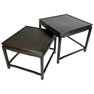 Pair of Mario Buatta for Widdicomb Asian Chinoiserie Ebonized Nesting Tables For Sale