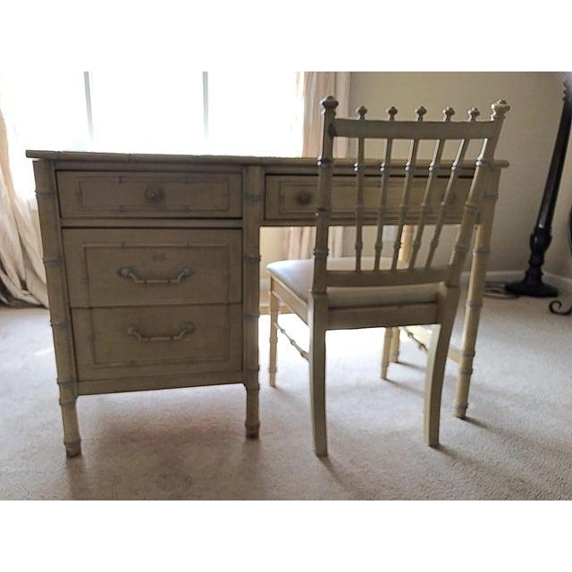 1960s Vintage Regency Thomasville Faux Bamboo Desk Set- 2 Pieces For Sale - Image 12 of 12