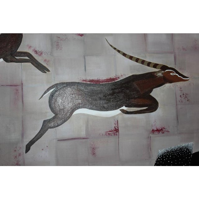 """1950s Vintage Art Deco Style """"Diana the Huntress"""" Oil Painting - Image 5 of 10"""