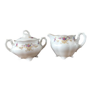 From Poland: Vintage Floral Cream & Sugar - 3 Pcs