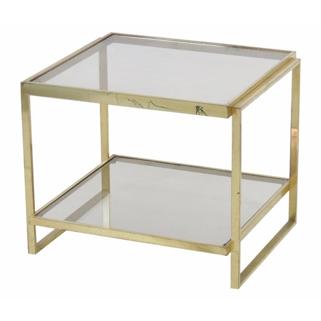 Modern Brass & Smoke Glass Side Table - Image 1 of 3