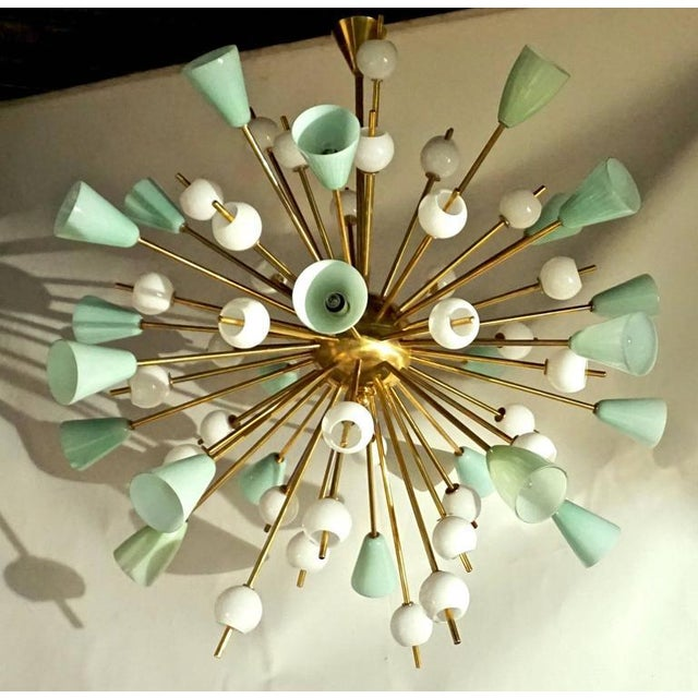 Contemporary Italian White & Mint Green Murano Glass Sputnik Brass Chandelier For Sale In New York - Image 6 of 8