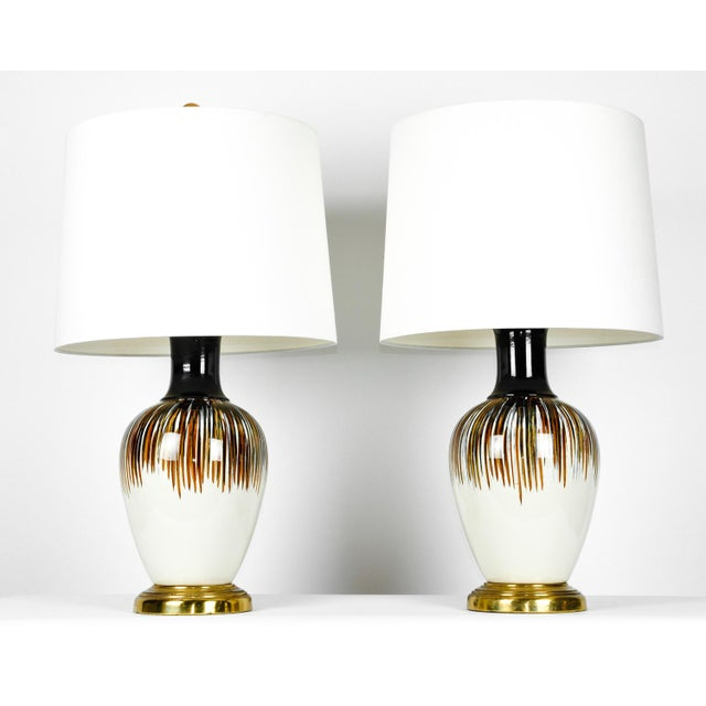 Vintage Porcelain Brass Base Table Lamps - A Pair For Sale - Image 10 of 11