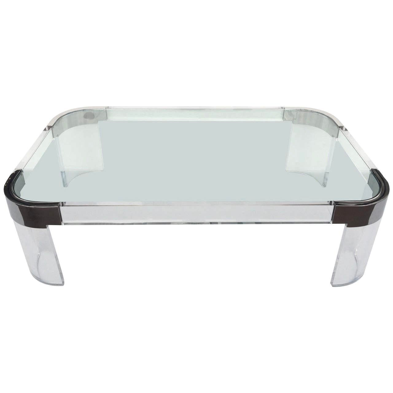 """Lucite and Nickel """"Waterfall"""" Coffee Table  Chairish"""