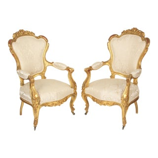 Late 19th Century Napoleon III Gilt Wood Armchairs- A Pair For Sale