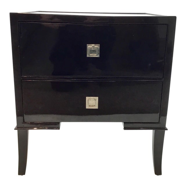 Modern Regina Andrew Drop Front Black Lacquer Nightstand For Sale