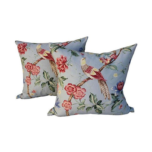 Feather Scalamandre Floral & Bird Chinoiserie Pillows - a Pair For Sale - Image 7 of 7