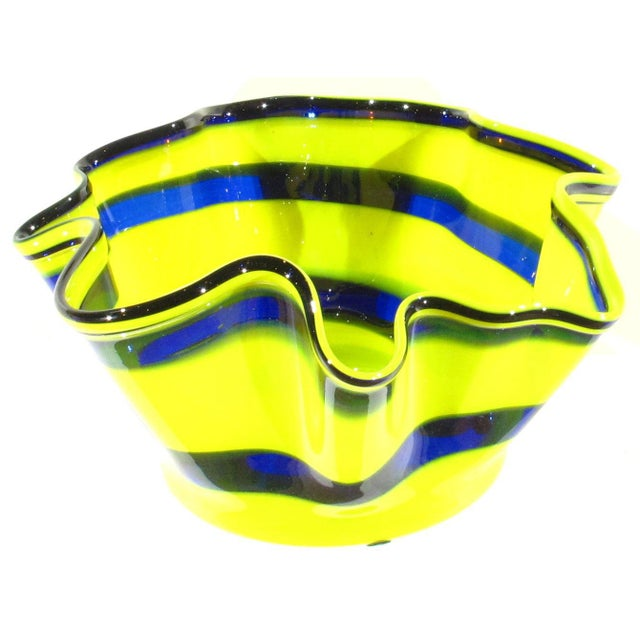 Wonderful Pottery Blended Glaze Bowl Multi Colored Handkerchief Shaped Bowl Really nice as well as rare Oversize...