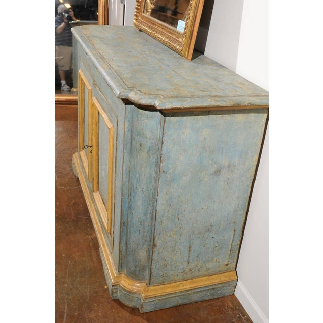 Wood Italian Florentine Light Grey Blue Painted Buffet with Two Doors from the 1820s For Sale - Image 7 of 11