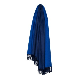 Arran Reversible Cashmere Throw, Navy Blue and Sapphire For Sale