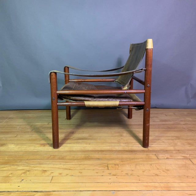 "Arne Norell Arne Norell ""Sirocco"" Leather Safari Chair Sweden For Sale - Image 4 of 12"