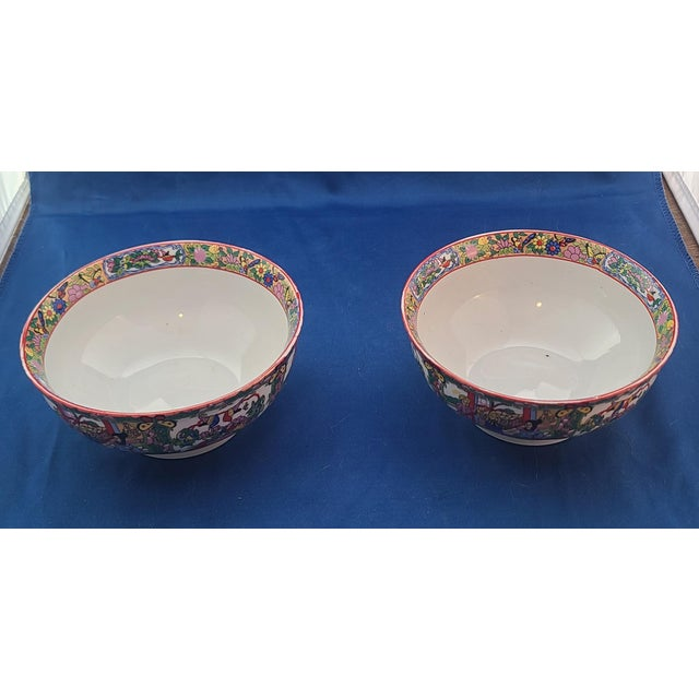 "Chinese Pair Chinese Porcelain Hand Decorated Behesti Super 6"" Bowls For Sale - Image 3 of 8"