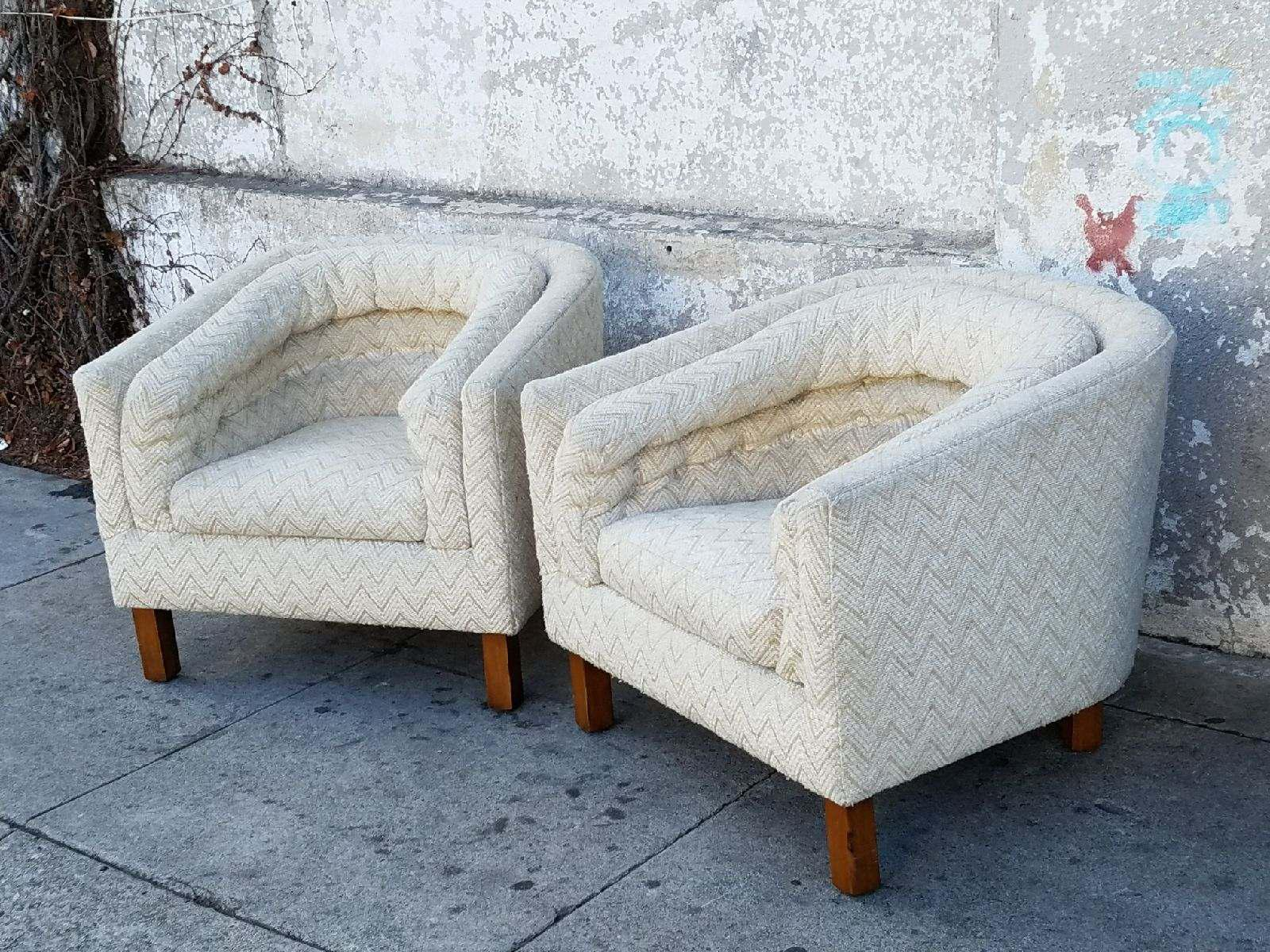 These Vintage Zigzag Pattern Barrel Chairs Are Waiting For Your Lovely  Room. They Are Mid