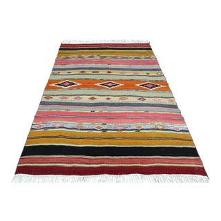 "Vintage Turkish Kilim Rug-5'3'x7'6"" For Sale"