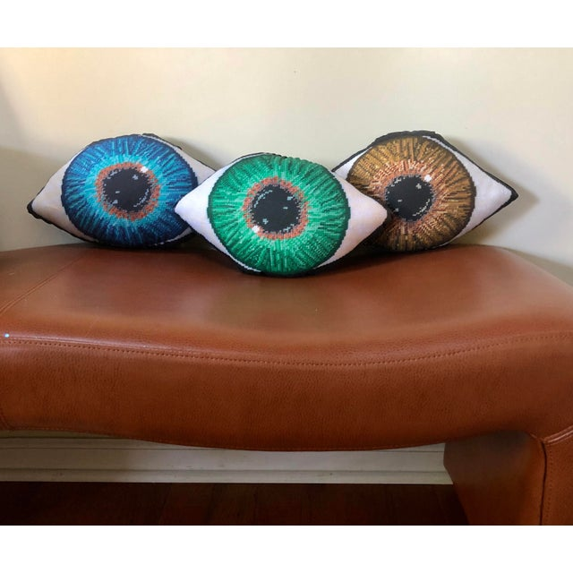 Custom Made Brown Eye Sculpted Pillow For Sale - Image 11 of 11