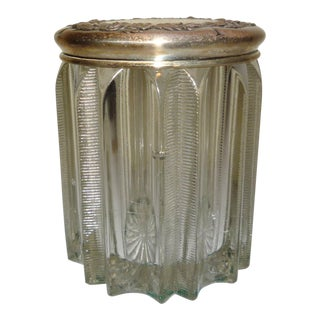 Vintage S.Kirk & Son, Repousse Sterling Silver Lid With Pressed-Glass Vanity Jar For Sale