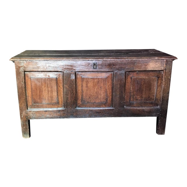 Antique English Paneled Oak Coffer Blanket Chest For Sale
