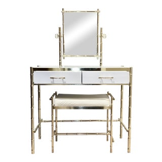 Hollywood Regency Brass Faux Bamboo Vanity With Mirror and Bench For Sale