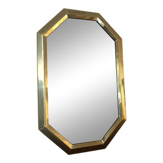 Vintage 1970s Solid Brass Octagonal Wall Mirror For Sale