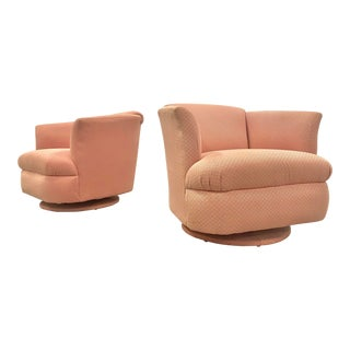 Hollywood Regency Pink Swivel Lounge Chairs - a Pair For Sale
