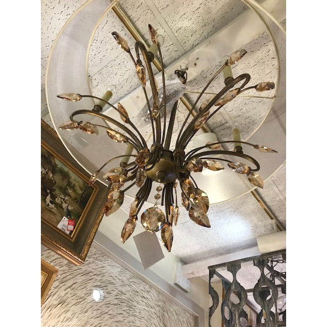 Mid-Century Modern Bronze Chandelier With Amber Crystals and a Transparent Shade For Sale - Image 3 of 5