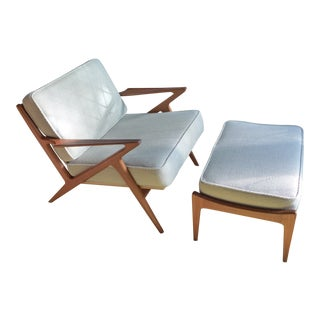 "1960s Vintage Poul Jensen for Selig of Denmark ""Z"" Lounge Chair and Ottoman For Sale"